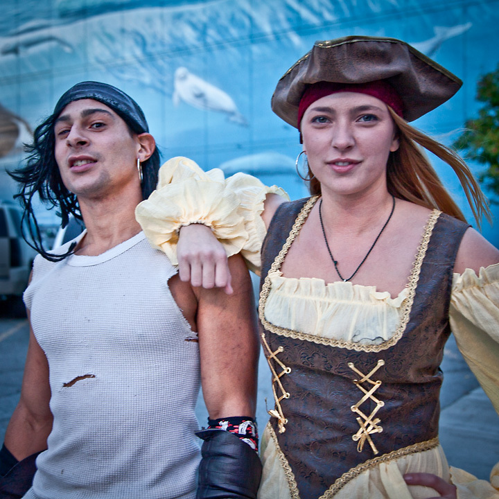 Pirates, Victor and Terra, during the Pirate Pub Crawl, Downtown Anchorage.