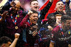 Jack Grealish, Aston Villa and his teammates celebrate winning promotion to the Premier League after beating Derby County in the Sky Bet Championship Playoff Final - Mandatory by-line: Robbie Stephenson/JMP - 27/05/2019 - FOOTBALL - Wembley Stadium - London, England - Aston Villa v Derby County - Sky Bet Championship Play-off Final