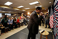 Republican presidential candidate Marco Rubio takes a drink of water after answering questions Tuesday, Jan. 5, 2016, at the end of a town hall meeting at Decker Truck Line in Fort Dodge, his third campaign stop of the day.