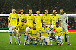 20.10.2011, Jan-Breydel Stadion, Bruegge, BEL, UEFA EL, Gruppe H, FC Bruegge (BEL) vs Birmingham City (ENG), im Bild  Birmingham City's players line up for a team group photograph before the UEFA Europa League Group H match against Club Brugge at the Jan Breydelstadion. Back row L-R: Pablo Ibanez, Adam Rooney, Jonathan Spector, Keith Fahey, captain Steven Caldwell, David Murphy, goalkeeper Boaz Myhill. Front row L-R: Nikola Zigic, Wade Elliott, Chris Burke, Guirane N'daw.  // during UEFA Europa League group H match between FC Bruegge (BEL) vs Birmingham City (ENG), at Jan-Breydel Stadium, Brugge, Belgium on 20/10/2011. EXPA Pictures © 2011, PhotoCredit: EXPA/ Propaganda Photo/ David Rawcliff +++++ ATTENTION - OUT OF ENGLAND/GBR+++++