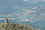 Cross near the summit of Mount Cagire, Haute-Garonne, Midi-Pyrenees, France.
