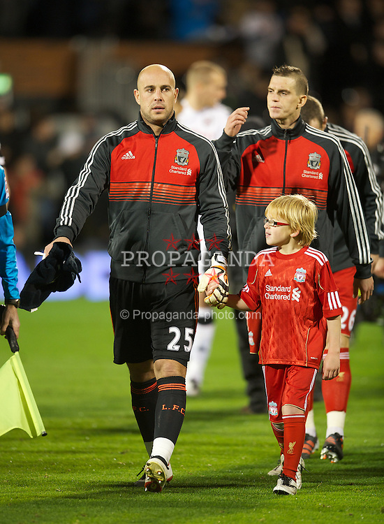 LONDON, ENGLAND - Monday, December 5, 2011: Liverpool's captain goalkeeper Jose Reina leads his side out to face Fulham during the Premiership match at Craven Cottage. (Pic by David Rawcliffe/Propaganda)