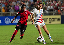 October 11, 2018 - Cary, North Carolina, United States - CARY, NC - OCTOBER 10: .L-R Mariah Shade of Trinidad and Tobago  and Megan Rapince of USA  During CONCACAF Women's Championship Group A match between Trinidad and Tobago against USA at Sahlen's Stadium, Cary, North Carolina. on October 10, 2018  (Credit Image: © Action Foto Sport/NurPhoto via ZUMA Press)