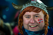 &Ouml;STERSUND, SVERIGE - 2017-12-02: Norskt fans under herrarnas sprint t&auml;vling under IBU World Cup Skidskytte p&aring; &Ouml;stersunds Skidstadion den 2 december 2017 i &Ouml;stersund, Sverige.<br /> Foto: Johan Axelsson/Ombrello<br /> ***BETALBILD***