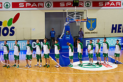 Players of Lithuania listening to the national anthem during basketball match between National teams of Slovenia and Lithuania in First Round of U20 Men European Championship Slovenia 2012, on July 14, 2012 in Domzale, Slovenia.  (Photo by Vid Ponikvar / Sportida.com)
