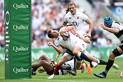 Piers Francis of England reaches for the try-line - Mandatory byline: Patrick Khachfe/JMP - 07966 386802 - 27/05/2018 - RUGBY UNION - Twickenham Stadium - London, England - England v Barbarians - Quilter Cup