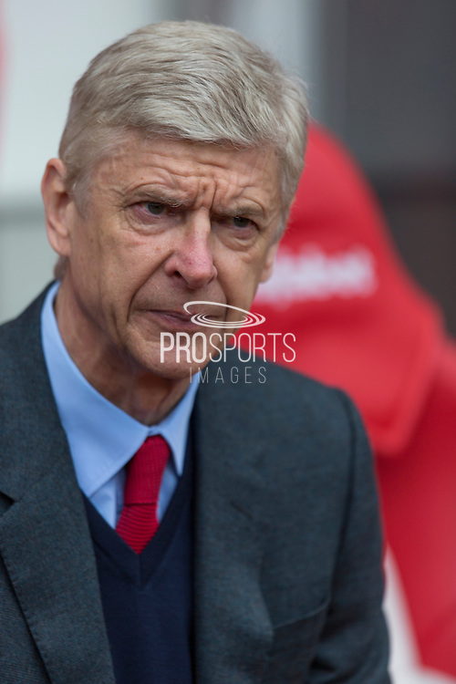 Arsenal manager Arsene Wenger during the Barclays Premier League match between Sunderland and Arsenal at the Stadium Of Light, Sunderland, England on 24 April 2016. Photo by George Ledger.