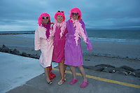 01/06/2014Yvonne Green, Marie Harvey and Joan Canden  who took part in the Dip in the nip which took place in Galway at dawn 5.15 on Silver Strand, Bearna .Photo:Andrew Downes