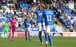 Marcus Maddison of Peterborough United celebrates scoring his first goal of the game with team-mate Josh Knight - Mandatory by-line: Joe Dent/JMP - 14/09/2019 - FOOTBALL - Weston Homes Stadium - Peterborough, England - Peterborough United v Rochdale - Sky Bet League One