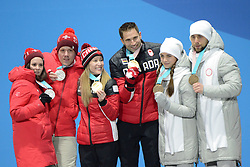 February 14, 2018 - Pyeongchang, South Korea - JENNY PERRET AND MARTIN RIOS of Sweden (left) , KAITLYN LAWES and JOHN MORRIS of Canada (center) and ANASTASIA BRYZGALOVA and ALEXSANDR KRUSHELNITEKII of Russia (right) with their medals from the Mixed Doubles curling event in the PyeongChang Olympic games. (Credit Image: © Christopher Levy via ZUMA Wire)