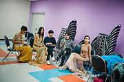 Bangkok January 26, 2018 -    Transgenders are waiting for the show during the Thailandís first LGBT-themed expoBangkok, le 26 janvier 2018 - Les transgenres attendent le spectacle lors de la première exposition sur le thème LGBT en Thaïlande.