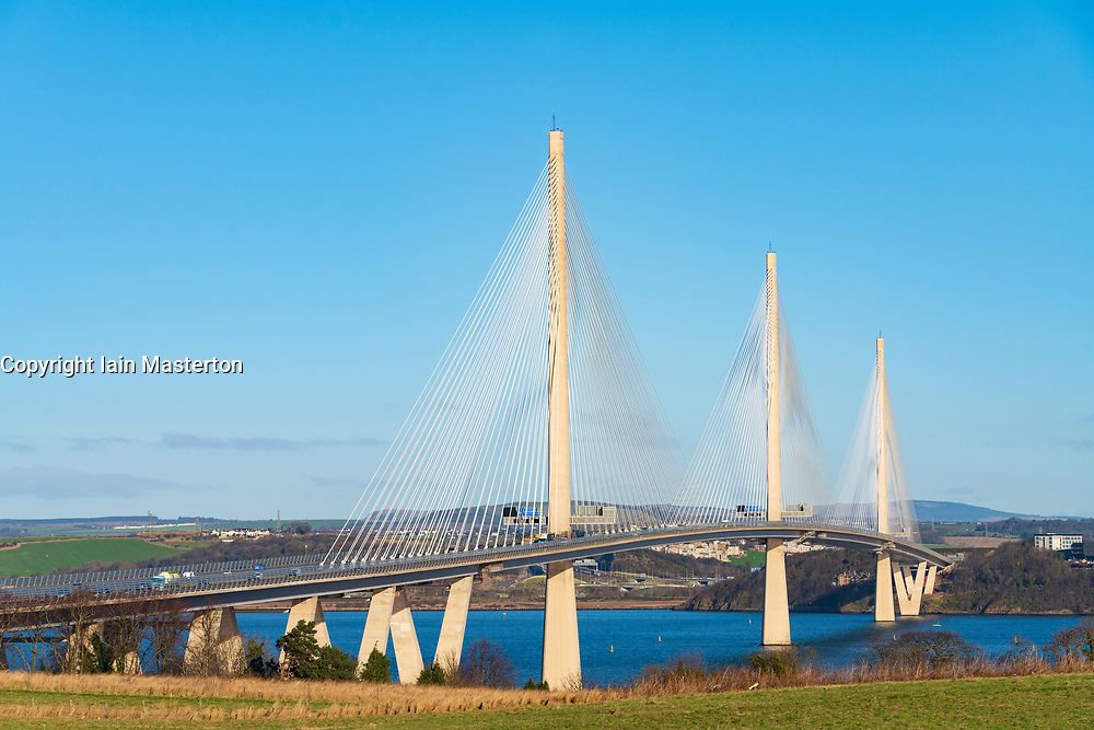View of Queensferry Crossing Bridge spanning the Firth Of Forth river at South Queensferry in Scotland, UK