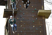 Riley Braun, a sophmore studying Sociology and Criminology is the first of the group to take the jump off the edge while ziplining during Sibs Weekend 2015.