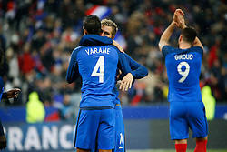 29.03.2016, Stade de France, St. Denis, FRA, Testspiel, Frankreich vs Russland, im Bild varane raphael, gignac andre pierre // during the International Friendly Football Match between France and Russia at the Stade de France in St. Denis, France on 2016/03/29. EXPA Pictures © 2016, PhotoCredit: EXPA/ Pressesports/ Sebastian Boue<br /> <br /> *****ATTENTION - for AUT, SLO, CRO, SRB, BIH, MAZ, POL only*****