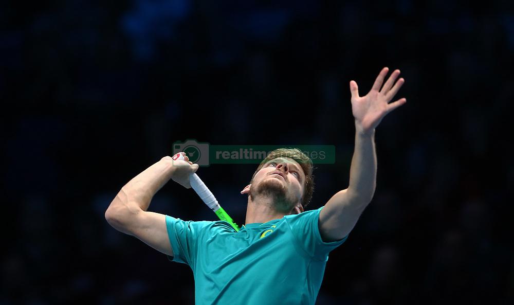 November 17, 2017 - London, United Kingdom - David Goffin of Belgium ageinst Dominic Thiem of Austia.during Day six of the Nitto ATP World Tour  Finals played at The O2 Arena, London on November 17 2017  (Credit Image: © Kieran Galvin/NurPhoto via ZUMA Press)