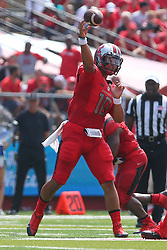 Sep 6, 2014; Piscataway, NJ, USA; Rutgers Scarlet Knights quarterback Gary Nova (10) throws a pass during the first half at High Points Solutions Stadium.