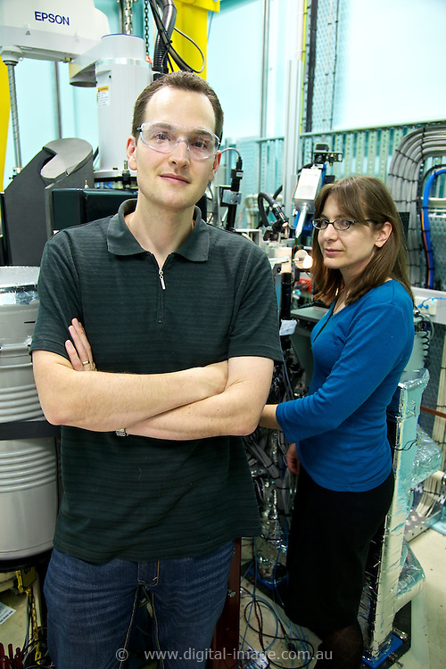 Macromolecular beamline, Australian Synchrotron. 2x staff at Macromolecular beamline, Tom Caradoc-Davies & Dr Rachel Williamson, Scientific Support Officer - Macromolecular Crystallography