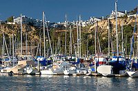 Yachts and Expensive Homes on Cliff, Dana Point Harbor, California