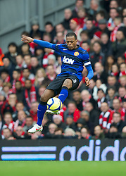 LIVERPOOL, ENGLAND - Saturday, January 28, 2012: Manchester United's Patrice Evra in action against Liverpool during the FA Cup 4th Round match at Anfield. (Pic by David Rawcliffe/Propaganda)