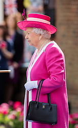 BERKHAMSTED - UK  - 4th May 2016: Britain's HM Queen Elizabeth II , Patron, visits Berkhamsted School as part of the school&rsquo;s 475th Anniversary celebrations.<br /> On arrival, The Queen inspected a Guard of Honour formed from the school's Combined Cadet Force, which celebrates its 125th anniversary this year. <br /> Photograph by  Ian Jones