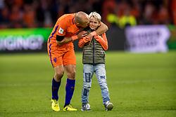 10-10-2017 NED: WK kwalificatie Nederland - Zweden, Amsterdam<br /> Oranje heeft Zweden met 2-0 verslagen. Het moest met zeven doelpunten verschil halen om nog kans te maken op plaatsing voor het WK. / Luka Robben, Arjen Robben of Holland