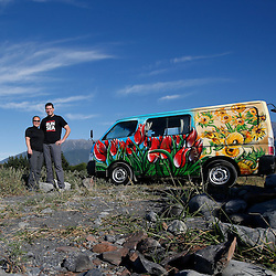 "My wife Jenny and I spent two weeks living out of a van (sometimes down by the river) while exploring the South Island of New Zealand. This is a gallery from that trip. In this photo, ""Vince"" the van and us pose for a photo after our first night at Meatworks Beach, Kaikoura."