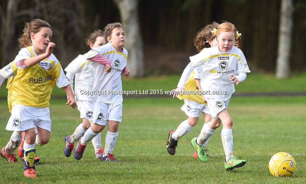 Junior Girls Soccer / Football. Eastern Suburbs 7th grade Crystals, Madills Farm, Auckland. New Zealand. Saturday 27 June 2015. Photo: Andrew Cornaga/www.photosport.co.nz