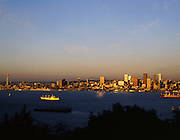 AA00010-01...WASHINGTON - A 1982 photo of sunset on Elliott Bay and the Seattle skyline from West Seattle.
