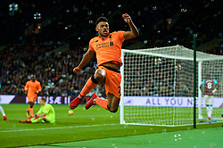 LONDON, ENGLAND - Saturday, November 4, 2017: Liverpool's Alex Oxlade-Chamberlain celebrates scoring the third goal during the FA Premier League match between West Ham United FC and Liverpool FC at the London Stadium. (Pic by David Rawcliffe/Propaganda)