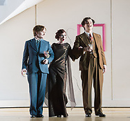 London, UK. 13.03.2017. English National Opera presents Christopher Alden's production of &quot;Partenope&quot;, by George Frederic Handel at the London Coliseum.<br /> Sarah Tynan<br /> Partenope<br /> <br /> Patricia Bardon<br /> Arsace<br /> <br /> James Laing<br /> Armindo