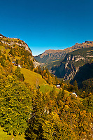 View from cablecar near Gimmelwald, between Murren and Stechelberg, Canton Bern, Switzerland