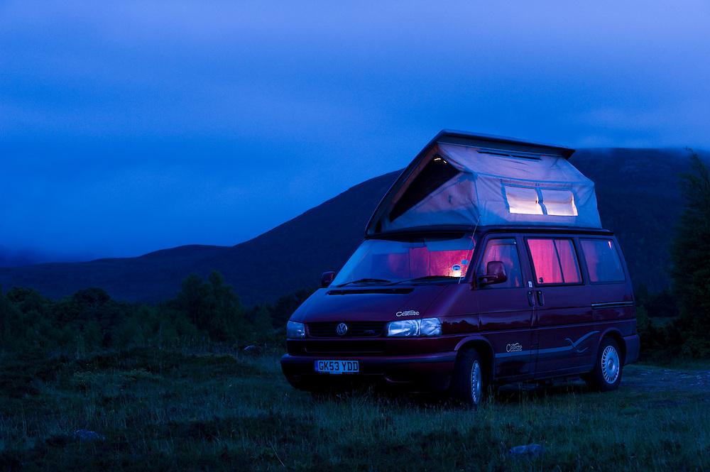 VW campervan at dusk, Tullochgrue, Scotland