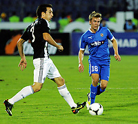 30.08.2012 <br /> FK Partizan - Tromsø IL<br />  Europa League play off<br />  men's football<br /> Thomas Bendiksen (r) TROMSO IL and  Vladimir Volkov (L) FK Partizan