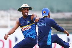 July 23, 2018 - Sri Lanka - Sri Lanka's Danushka Gunathilaka (L) reacts before the match fourth day of the second Test match between Sri Lanka and South Africa at the Sinhalese Sports Club (SSC) international cricket stadium in Colombo, Sri Lanka  on July 23, 2018.Batsman Danushka Gunathilaka has been suspended over a misconduct charge in the middle of Sri Lanka's second Test against South Africa, the country's cricket board said on July 22. (Credit Image: © Pradeep Dambarage/Pacific Press via ZUMA Wire)
