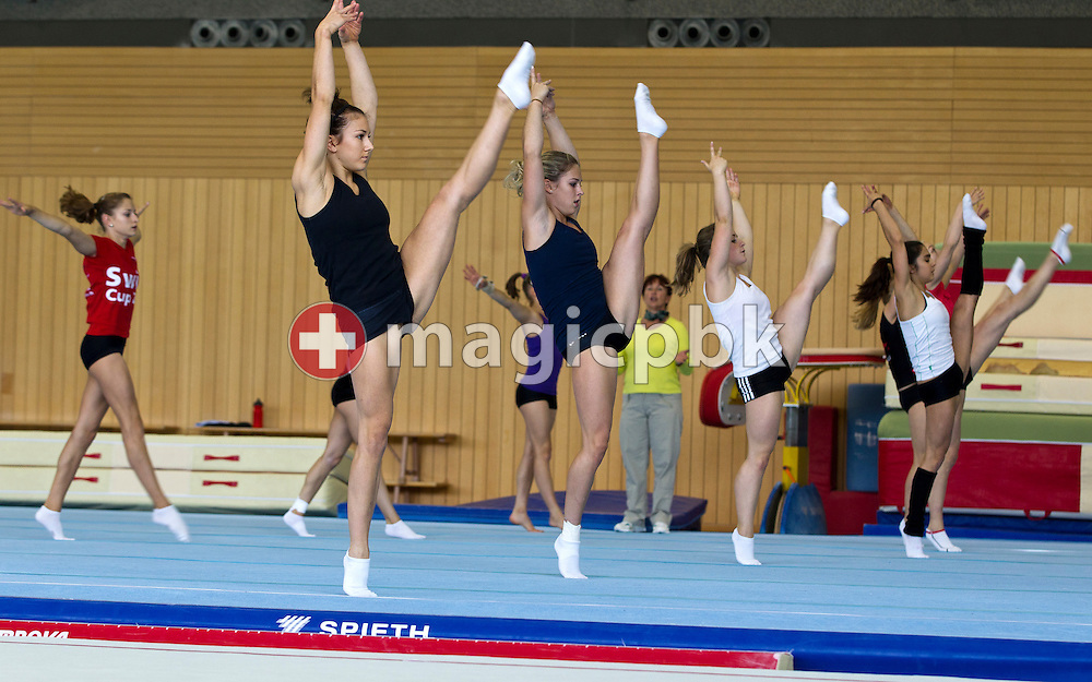 Artistic gymnastics athlete Giulia STEINGRUBER (C) of Switzerland and her teammates are pictured during a training session in a gym at the Federal College of Sports Magglingen in Magglingen in the canton of Berne, Switzerland, Monday, Aug. 29, 2011. (Photo by Patrick B. Kraemer / MAGICPBK)