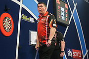 Mensur Suljovic wins the second set and celebrates during the William Hill PDC World Darts Championship at Alexandra Palace, London, United Kingdom on 18 December 2017. Photo by Shane Healey.