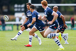 Bristol Rugby Fly-Half Gavin Henson kicks in the warm up - Mandatory byline: Rogan Thomson/JMP - 07966 386802 - 13/09/2015 - RUGBY UNION - Old Deer Park - Richmond, London, England - London Welsh v Bristol Rugby - Greene King IPA Championship.