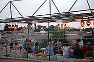 Morocco, Marrakech, le cafe arabe, restaurant cafe with a view ont the rooftops of the medina, old city /   Marrakech /  le cafe arabe, cafe restaurant terrasse avec vue sur les toits de la la Medina, dans la vielle ville