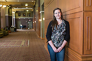 Location portraits of Alison Thorton in Baker University Center photographed for the War and Peace Studies Brochure on April 22, 2015.  Photo by Ohio University  /  Rob Hardin