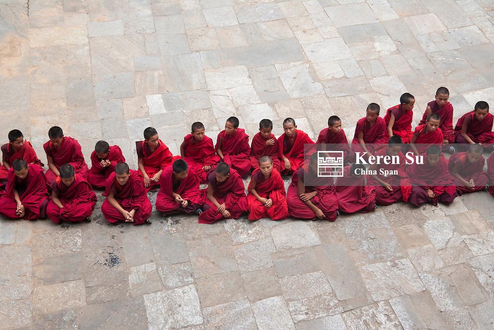 Monks at Blessing Festival in Punakha Dzong, Punakha, Bhutan