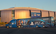 Playstation Fiesta Bowl truck in front of stadium