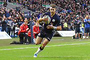 Tommy Seymour hits the try line during the 2018 Autumn Test match between Scotland and Fiji at Murrayfield, Edinburgh, Scotland on 10 November 2018.