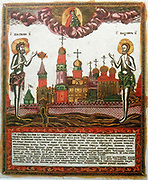 St Basil the Great (c.329-379) on of great Greek fathers of the church, and St Maximus the Confessor and the Monk (c.580-662) Greek theologian. Popular Russian coloured copperplate engraving 1820-1830