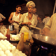 An egg stall in Old Delhi. The bun-anda (egg sandwich) vendor selling eggs is one of India's best-known entrepreneurs on whom office goers and night birds depend.