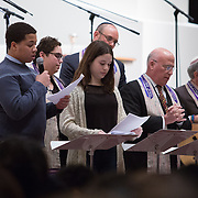 """Friday night services are held as part of the """"Martin Luther King Jr. Shabbat"""" featuring Boston Mayor Marty Walsh at Temple Israel on January 16, 2015 in Boston, Massachusetts. (Photo by Elan Kawesch/The Times of Israel)"""