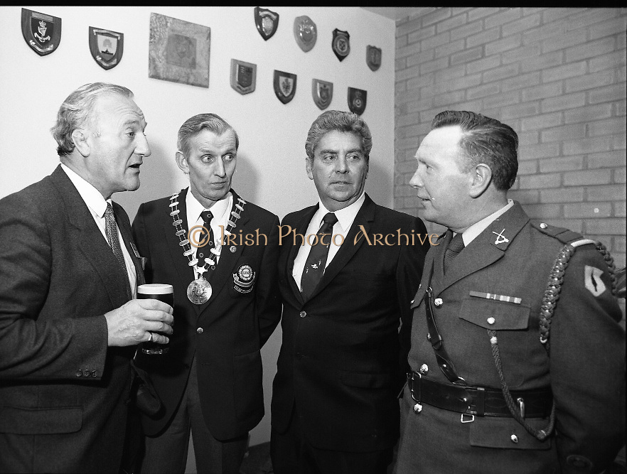 "Veterans Of Foreign Wars At Guinness..1986..28.05.1986.05.28.1986..28th May 1986..A group of ""Veterans of Foreign Wars"" from Revere,Massachesetts,USA,who are on an eight day visit to Ireland were entertained at a reception at the Guinness Brewery,St James's Gate,Dublin. The trip was organised by the Organisation of National .Ex-Servicemen and Women...Picture shows Mr Paddy Kenna,Director,Guinness Ireland chatting with Mr Peter O'Reilly,Chairman.O.N.E,Mr Bob Parsons,Ex-US Navy and Sgt-Major Christopher McClean,Collins Barracks,Dublin at the reception."