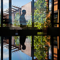 A visitor walks through the main conference room of the new David and Lucille Packard Foundation Building in Los Altos, CA, June 29, 2012. The building is the world's largest Net Zero Energy certified building in the world.