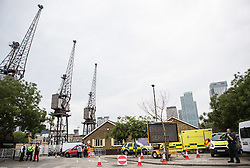 © Licensed to London News Pictures. 30/06/2015. London, UK. A general view of the joint exercise called 'Exercise Strong Tower' between the three emergency services, which continued today with an exercise at Wood Wharf.  Photo credit : James Gourley/LNP