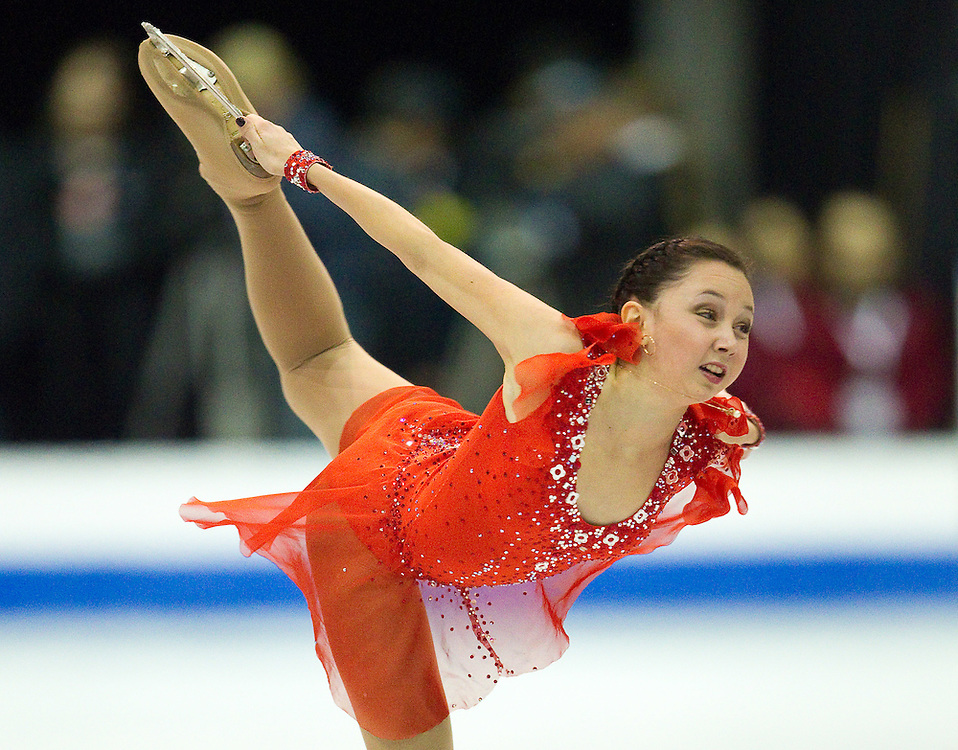 GJR389 -20111029- Mississauga, Ontario,Canada-  Elizaveta Tuktamisheva of Russia skates to victory in the free skate at Skate Canada International, in Mississauga, Ontario, October 29, 2011.<br /> AFP PHOTO/Geoff Robins