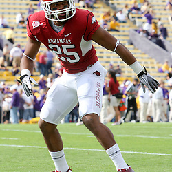 November 25, 2011; Baton Rouge, LA, USA; Arkansas Razorbacks linebacker Terrell Williams (25) prior to kickoff of a game against the LSU Tigers at Tiger Stadium.  Mandatory Credit: Derick E. Hingle-US PRESSWIRE